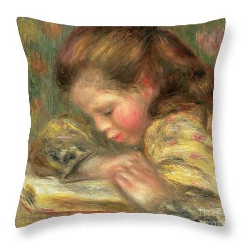 Book Throw Pillow featuring the painting Child Reading, 1890 by Pierre Auguste Renoir