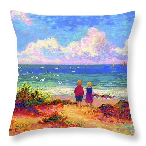 Ocean Throw Pillow featuring the painting Children Of The Sea by Jane Small