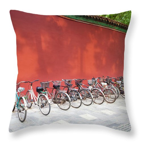 Shadow Throw Pillow featuring the photograph Chinese Bikes by Sam Diephuis