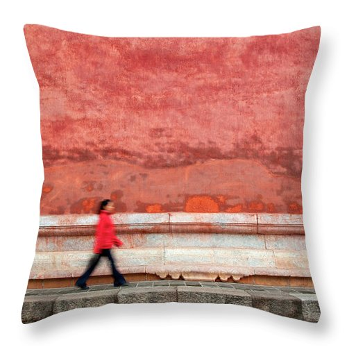 People Throw Pillow featuring the photograph Chinese Young Lady Walking By Monument by Grant Faint