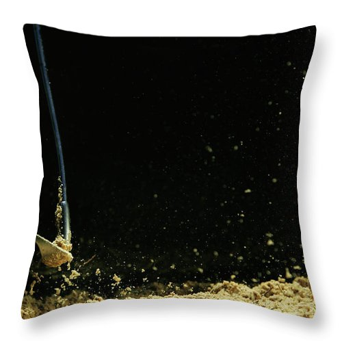 Sand Trap Throw Pillow featuring the photograph Chipping A Golf Ball Out Of Sand On A by Kolbz