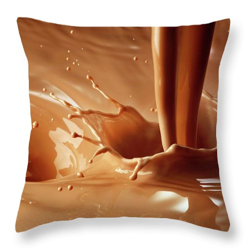 Protein Drink Throw Pillow featuring the photograph Chocolate Milk Pour And Splash by Jack Andersen