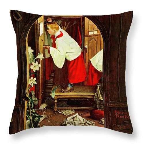 Choirboys Throw Pillow featuring the drawing choirboy by Norman Rockwell