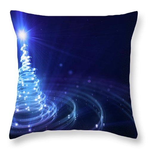 Particle Throw Pillow featuring the digital art Christmas Background by Da-kuk