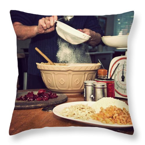 Dublin Throw Pillow featuring the photograph Christmas Cake Making by Image By Catherine Macbride