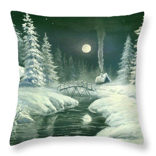 Art Throw Pillow featuring the digital art Christmas Night In The Country by Pobytov