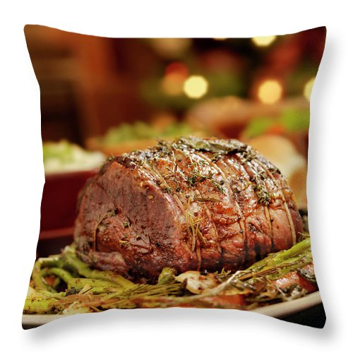 Roast Dinner Throw Pillow featuring the photograph Christmas Roast Beef Dinner by Lauripatterson