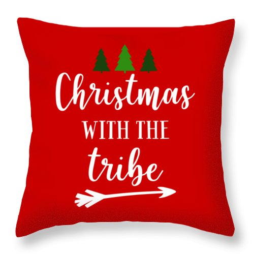 Christmas Throw Pillow featuring the digital art Christmas With The Tribe by Print My Mind