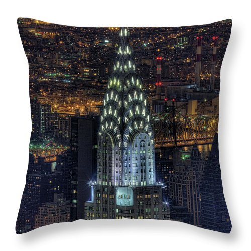 Outdoors Throw Pillow featuring the photograph Chrysler Building At Night by Jason Pierce Photography (jasonpiercephotography.com)