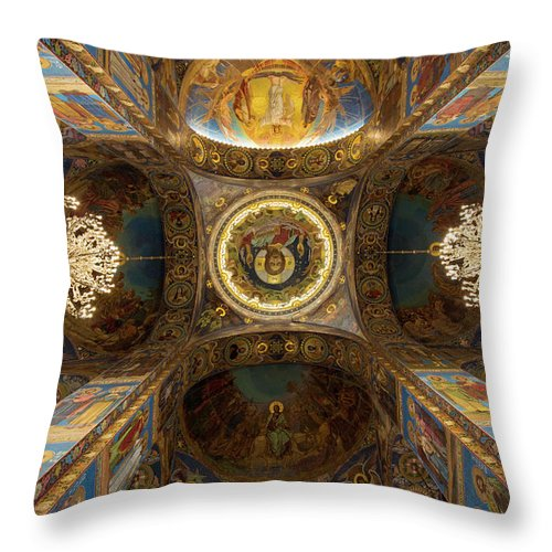 Architecture Throw Pillow featuring the photograph Church Of The Spilled Blood by Judy Hess
