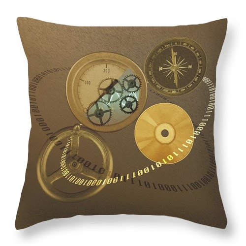 The Media Throw Pillow featuring the photograph Circular Objects And Binary Code, Cg by Daj