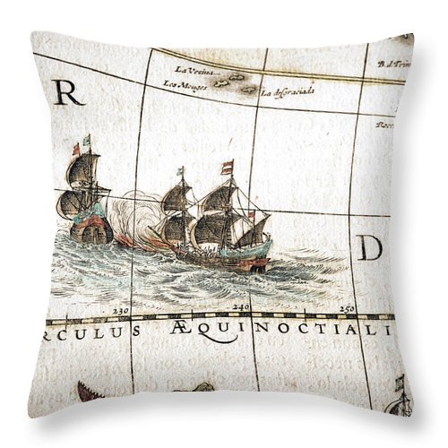 Engraving Throw Pillow featuring the digital art Circulus Aequinoctalis, Historical Map by Goldhafen
