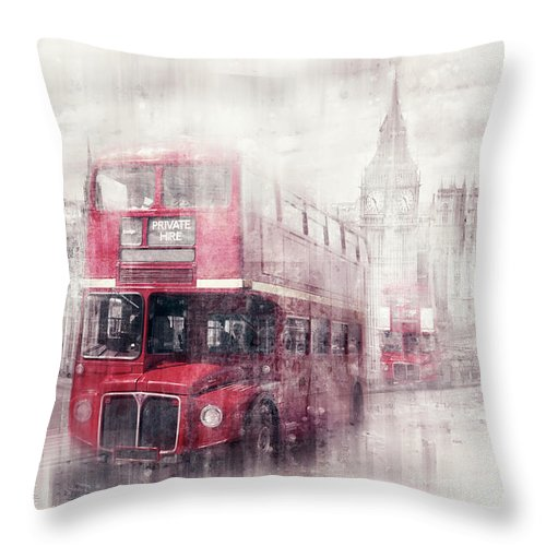 British Throw Pillow featuring the photograph City-art London Westminster Collage II by Melanie Viola