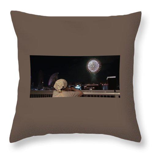 Fireworks Throw Pillow featuring the digital art City Fireworks by Conrad Ondieki Miruka