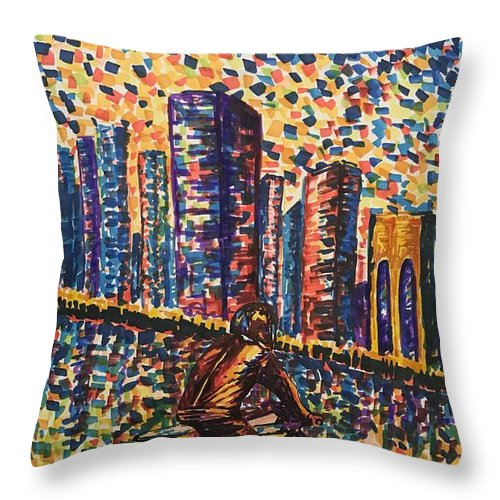 Marker Throw Pillow featuring the drawing City Lights by Elena Hasnas