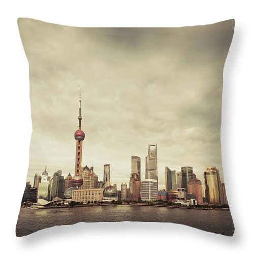 Communications Tower Throw Pillow featuring the photograph City Skyline At Sunset, Shanghai, China by D3sign