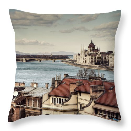Tranquility Throw Pillow featuring the photograph Cityscape Of Budapest by By Matthew Heptinstall