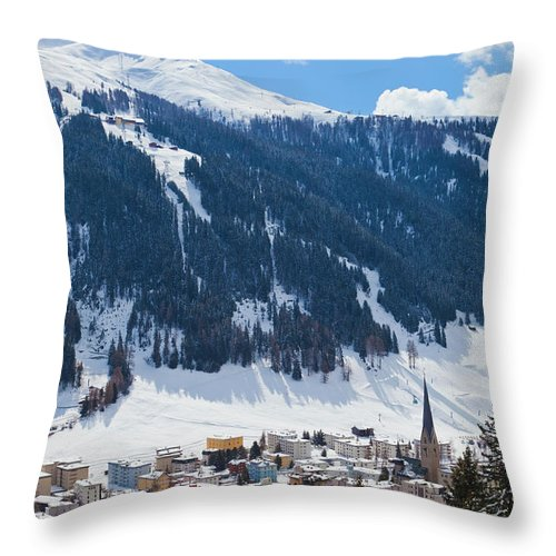 Snow Throw Pillow featuring the photograph Cityscape Of Davos, Grisons, Switzerland by Werner Dieterich