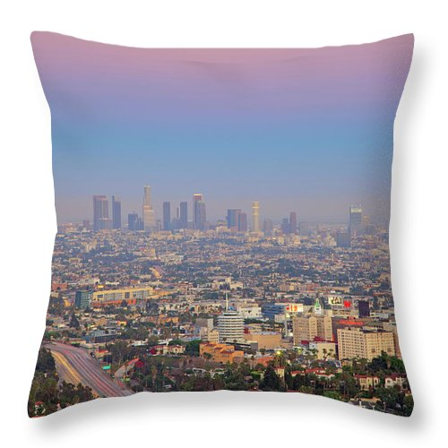 California Throw Pillow featuring the photograph Cityscape Of Los Angeles by Eric Lo