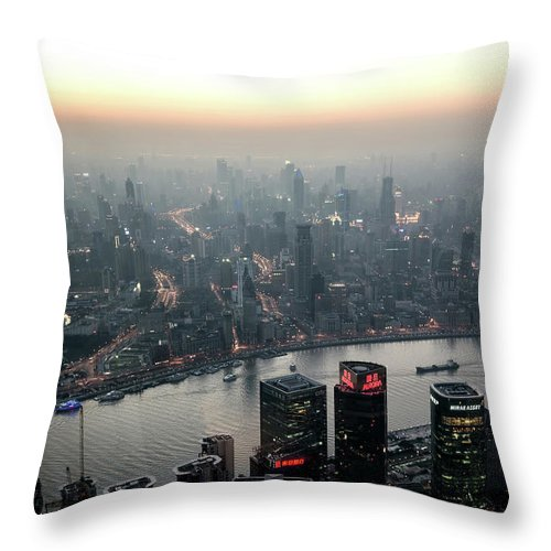 The Bund Throw Pillow featuring the photograph Cityscape Puxi Shanghai by Andy Brandl