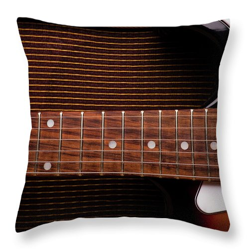 Rock Music Throw Pillow featuring the photograph Classic Electric Guitar And Amp Still by Halbergman