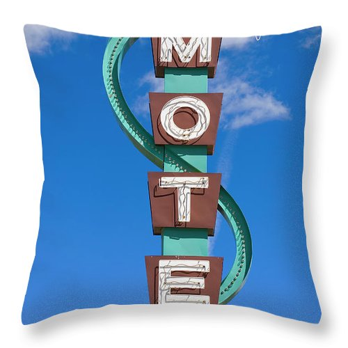 In A Row Throw Pillow featuring the photograph Classic Motel Sign by Elementalimaging