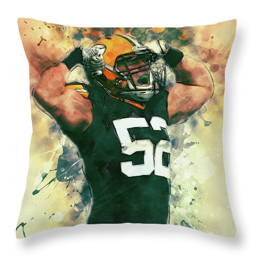Clay Matthews Throw Pillow featuring the painting Clay Matthews by Zapista Zapista