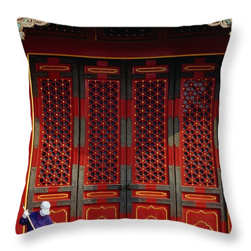 Working Throw Pillow featuring the photograph Cleaner Sweeps Steps Inside The by Lonely Planet