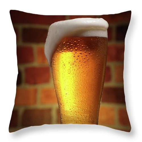 Orange Color Throw Pillow featuring the photograph Clear Cold Bear With Foam Overflow by Eltoddo