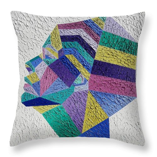 Geometric Painting Throw Pillow featuring the painting Cleopatra by Afafe Slaoui