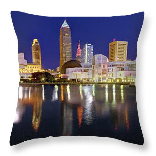Cleveland Skyline Throw Pillow featuring the photograph Cleveland Skyline At Dusk Rock Roll Hall Fame by Jon Holiday