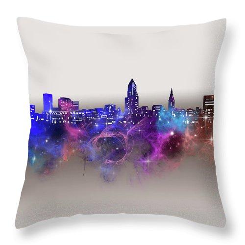 Cleveland Throw Pillow featuring the digital art Cleveland Skyline Galaxy by Bekim M