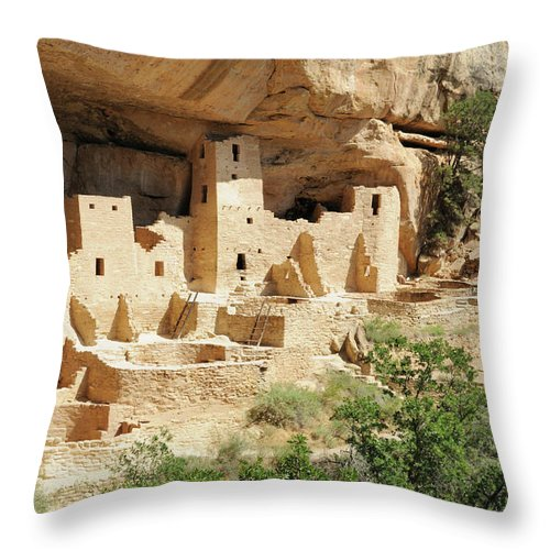 Mesa Verde National Park Throw Pillow featuring the photograph Cliff Palace In Mesa Verde, Colorado by Sshepard