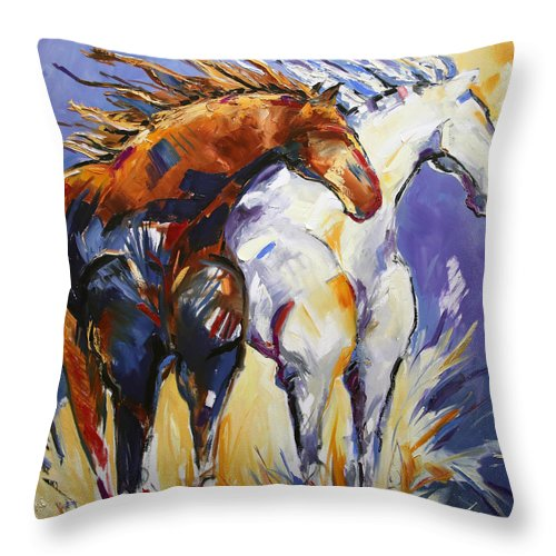 Horse Painting Throw Pillow featuring the painting Cliffhangers by Laurie Pace