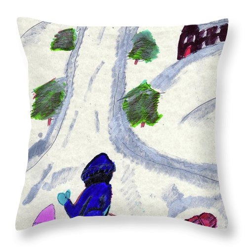 3 Children Sledding A House Trees Throw Pillow featuring the mixed media Climbing To The Top Of The Hill by Elinor Helen Rakowski