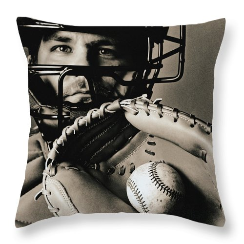 Baseball Catcher Throw Pillow featuring the photograph Close-up Of Catcher by Anthony Saint James
