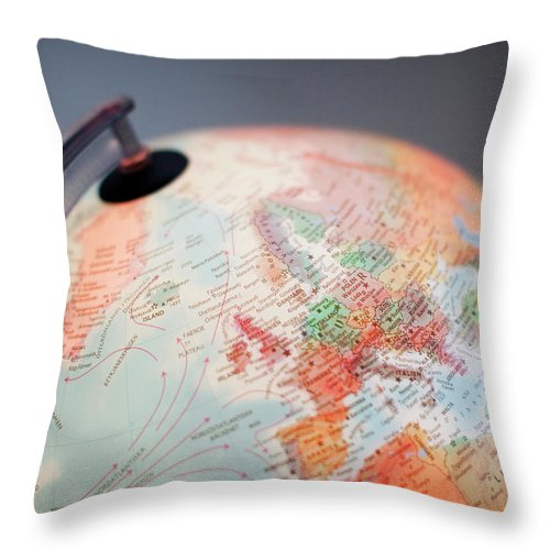 Globe Throw Pillow featuring the photograph Close-up Of Globe by Kindler, Andreas
