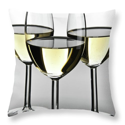 Alcohol Throw Pillow featuring the photograph Close-up Of Three White Wine Glasses by Domin domin