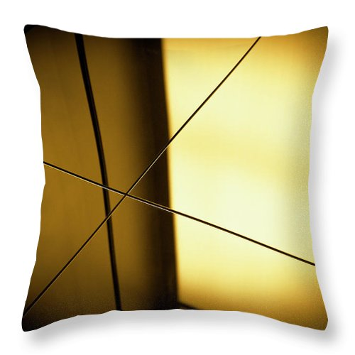 Shadow Throw Pillow featuring the photograph Close-up Spot Lit Reflection In Yellow by Ralf Hiemisch