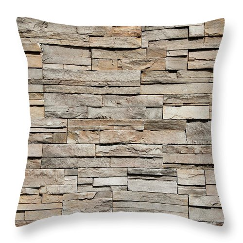 Rectangle Throw Pillow featuring the photograph Closeup Of A Sandstone Brick Side Of by Carterdayne