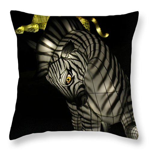 Zebra Throw Pillow featuring the photograph Closeup of Zebra Christmas Decoration in Palm Desert by Colleen Cornelius