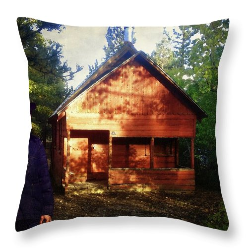 Cabin Throw Pillow featuring the photograph Closing The Cabin For Winter by Timothy Bulone