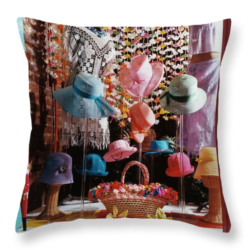 Straw Hat Throw Pillow featuring the photograph Clothing Store Window Display by Silvia Otte