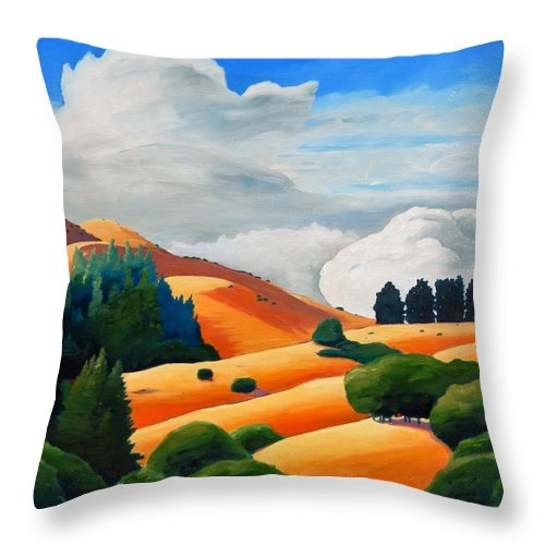 Clouds Throw Pillow featuring the painting Clouds Over Windy Hill by Gary Coleman
