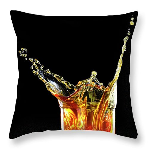 Alcohol Throw Pillow featuring the photograph Cocktail With Big Splash In A Tumbler by Chris Stein