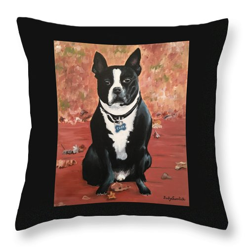 Dog Throw Pillow featuring the painting Cody by Judy Swerlick