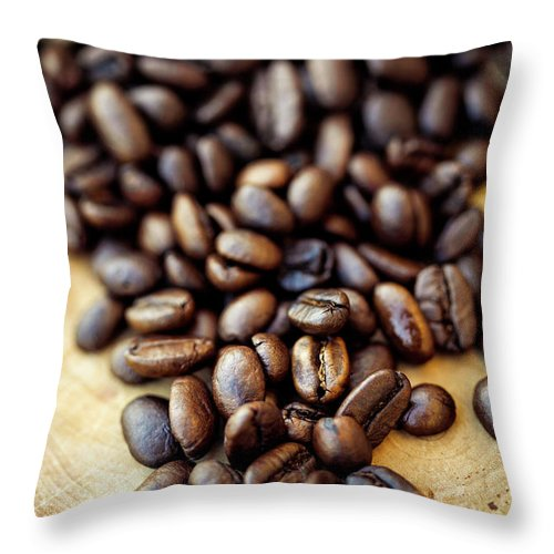 Black Color Throw Pillow featuring the photograph Coffee Beans by Chang