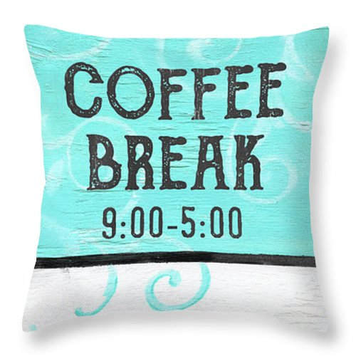 Coffee Throw Pillow featuring the painting Coffee Break by Debbie DeWitt