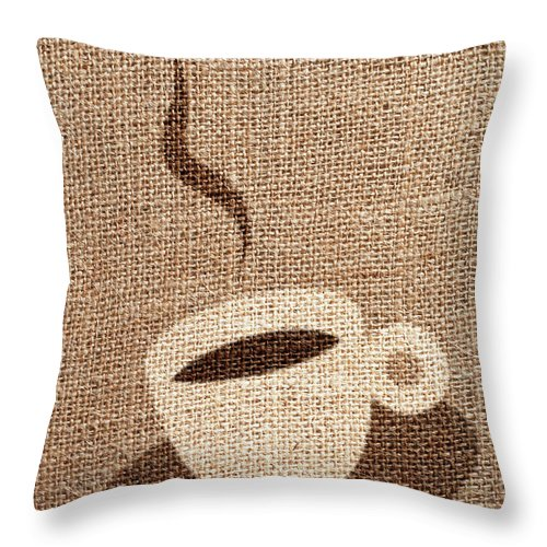 Fiber Throw Pillow featuring the photograph Coffee Cup by Malerapaso