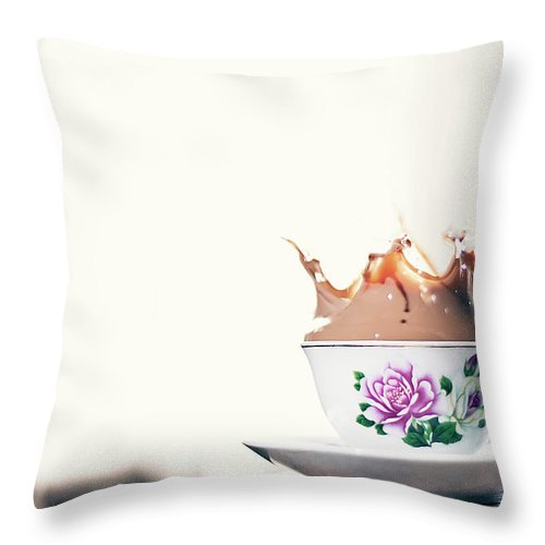 Motion Throw Pillow featuring the photograph Coffee Splash In Kitchen by Photographs By Vitaliy Piltser